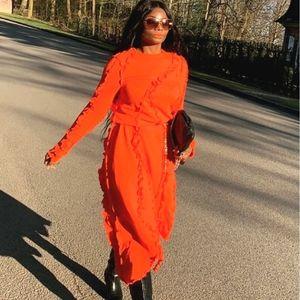 NWT H&M Studio SS21   Ruffle Trim Jersey Dress